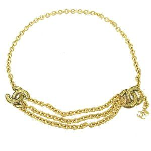 CHANEL CC Quilted Charm Gold Chain Belt Accessorie